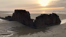 A Piece Of The Sujameco Shipwreck Exposed During Low Tide At Horsfall Beach Near Coos Bay, Oregon.