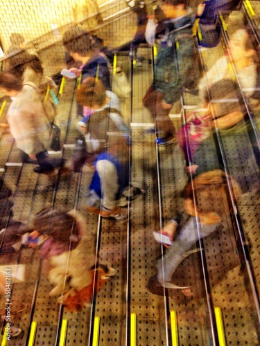 Fototapeta High Angle View Of People On Staircase During Rush Hour