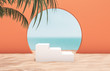 Natural summer beach backdrop with white stair and palm tree for product display. Abstract 3d summer scene. sea view.