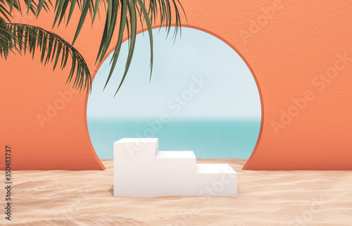 Fototapeta Natural summer beach backdrop with white stair and palm tree for product display. Abstract 3d summer scene. sea view. obraz