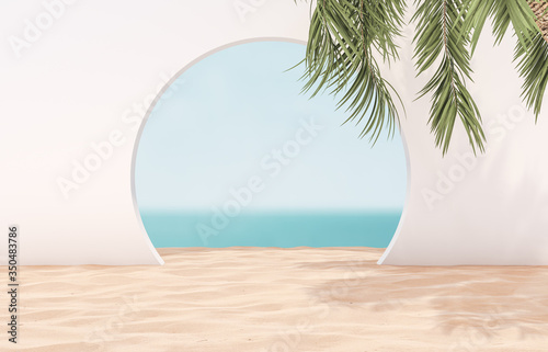 Natural summer beach backdrop with palm tree for product display Fototapeta