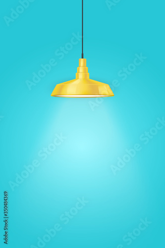Interior of Blue wall with one yellow vintage pedant lamp Slika na platnu