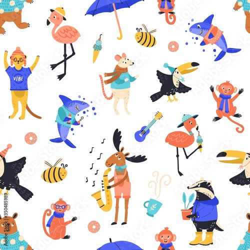 Obraz Cartoon funny creatures seamless pattern vector flat illustration. Happy wild childish animals, fish and birds on white background. Creative joyful wildlife characters decorative style - fototapety do salonu