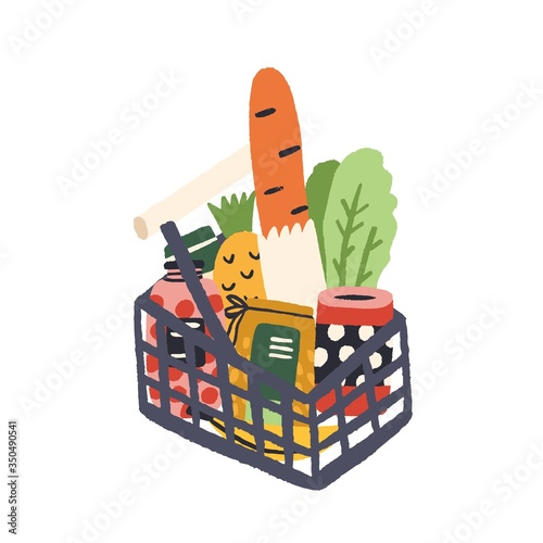 Fototapeta Supermarket basket full of fresh tasty products vector flat illustration. Shopping grocery basketful with bread, fruit, vegetable and cans isolated on white background. Colorful hand drawn purchase obraz