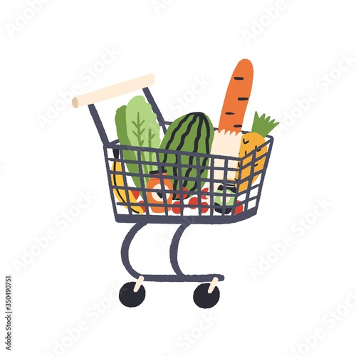 Fototapeta Cartoon trolley with healthy food vector flat illustration. Colorful full shopping cart with grocery from self-service shop isolated on white background. Fresh products in pushcart with handle obraz
