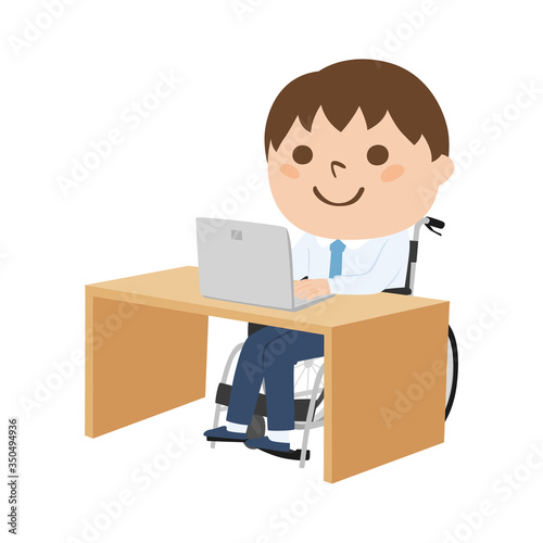 Fotografie, Obraz 車いすに座って、仕事をしている若い男性のイラスト。