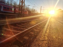 View Of Railway Station Against Sunset