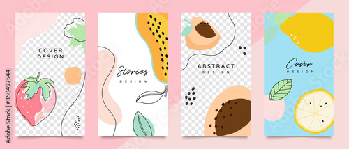 Design backgrounds for social media post and stories. Photo frame template for shop , fashion, blog, web ads. Trendy Memphis design cover. Abstract shape with minimal design. Vector  illustration. - 350497544