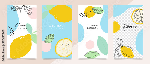 Design backgrounds for social media post and stories. Photo frame template for shop , fashion, blog, web ads. Trendy Memphis design cover. Abstract shape with minimal design. Vector  illustration. - 350497567