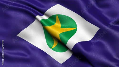 3D illustration of the Brazilian state flag of Mato Grosso waving in the wind Canvas Print