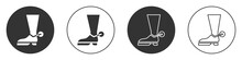 Black Cowboy Boot Icon Isolate...