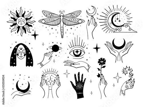 Fotomural Set of magic symbols, witch tattoos
