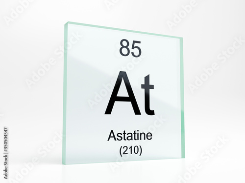 Photo Astatine element symbol from periodic table on glass icon - realistic 3D render