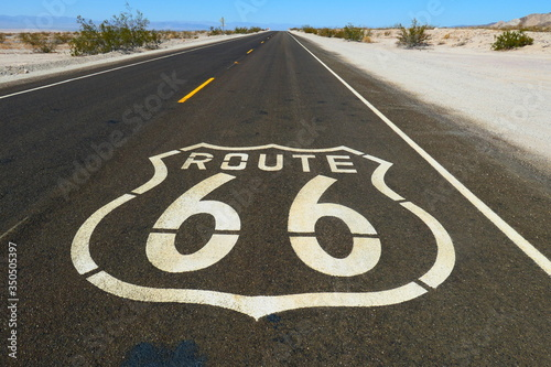 route 66 sign on the road Canvas Print