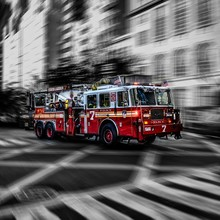 Blurred Motion Of Fire Engine ...
