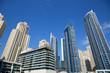 Dubai Marina skyscrapers, low angle view in a sunny day, clear blue sky in Dubai