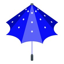 Blue Dotted Umbrella Icon. Iso...