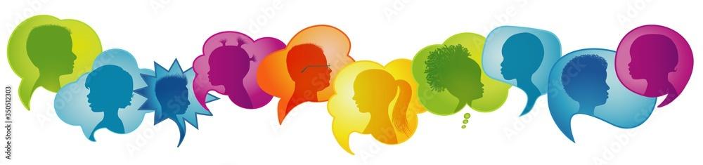 Fototapeta Multicultural kindergarten.Silhouette group of modern children in rainbow colored profile.Communication between multi-ethnic children.Children talking.Speech bubble.Globalization