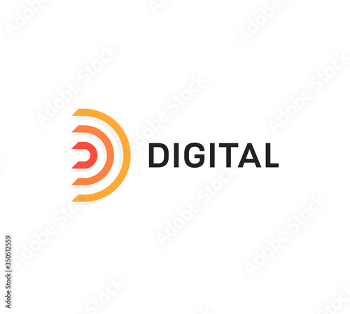 Abstract digital icon, orange semicircle, letter D. Linear logo template, flat abstract emblem. Concept logotype design for business, web and presentation. Vector logo.