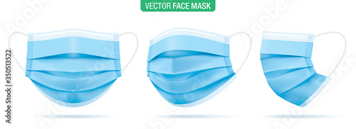 Photo Surgical face mask, vector illustration