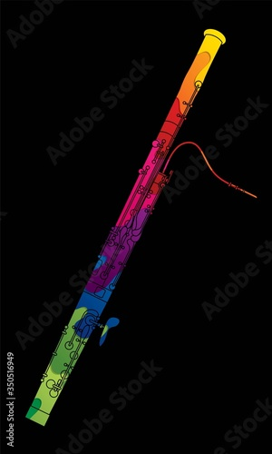 Bassoon instrument cartoon music graphic vector Canvas Print