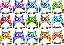 Colorful Owl Cartoon Set Illus...