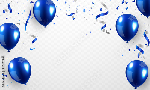 Obraz Helium balloon, realistic blue 3D design For decorating festivals, festivals-parties. - fototapety do salonu