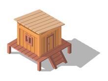 Isometric Tropical House. Beach Bungalow.