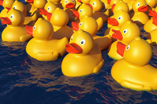 Many Rubber Ducks In The Water, 3D Render