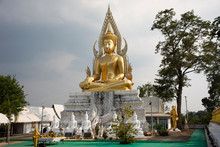 Art Buddha Statue Image Of Wat Phra Buddhabat Nam Thip Temple For Thai People And Foreign Travelers Travel Visit And Respect Praying At Phu Phan City In Sakon Nakhon, Thailand