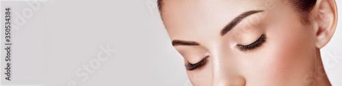 Obraz na plátně Beautiful Woman with Extreme Long False Eyelashes