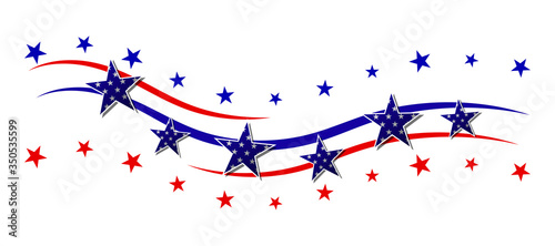 Obraz Red and blue stripes with stars. Patriotic banner for USA holidays. Isolated on white background. Vector illustration. - fototapety do salonu