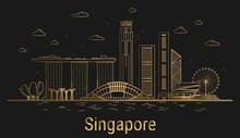 Singapore City Line Art, Golde...