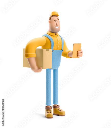 Obraz 3d illustration. Cartoon character. Deliveryman in overalls  holds a box with a parcel and order form in his hands. - fototapety do salonu