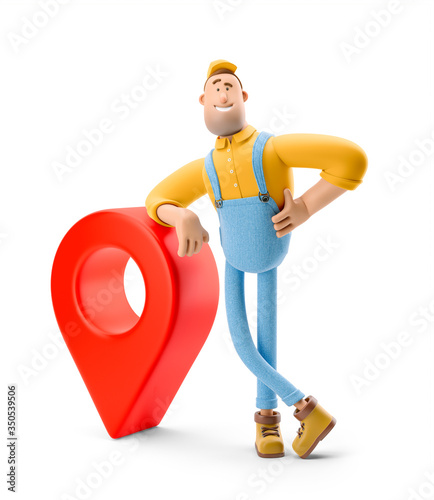Obraz Parcel tracking concept. 3d illustration. Cartoon character. Deliveryman in overalls  with a parcel is standing next to a large pin. - fototapety do salonu