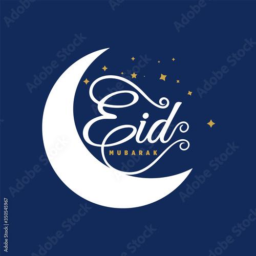 Obraz Eid Mubarak vector greeting social media card, poster, background creative geometric design and Eid Mubarak Artistic calligraphy. - fototapety do salonu