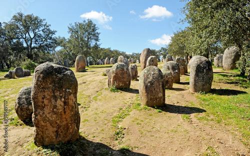 Fényképezés Cromlech of Almendres (Cromeleque dos Almendres) near Evora, Alentejo, Portugal,