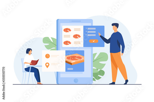 Fototapeta People ordering food in cafe and online. Man using mobile app and choosing pizza for delivery. Vector illustration for application, restaurant service, fast food concept obraz