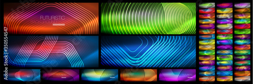 Set of shiny neon lines, stripes and waves, technology abstract backgrounds. Trendy abstract layout templates for business or technology presentation, internet poster or web brochure cover, wallpaper