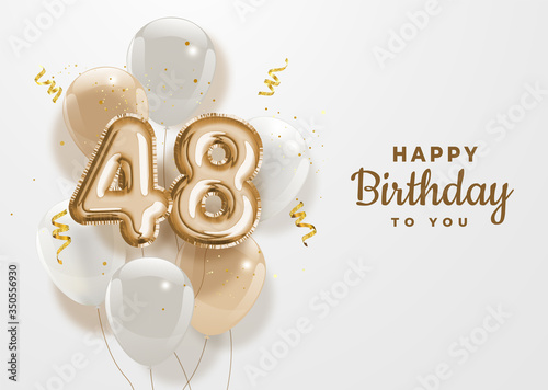 Obraz Happy 48th birthday gold foil balloon greeting background. 48 years anniversary logo template- 48th celebrating with confetti. Vector stock. - fototapety do salonu
