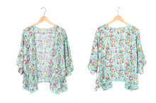 Summer Kimono Cardigan With Floral Pattern Isolated On White, Front And Back