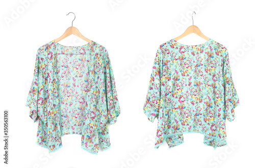 Fototapeta summer kimono cardigan with floral pattern isolated on white, front and back