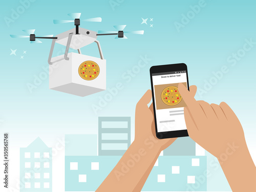 Drone Delivery Food Wallpaper Mural