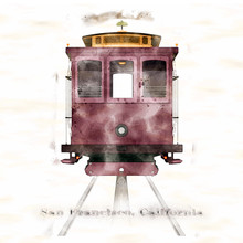 American National Holiday. San Francisco California Cable Car On Watercolor Background.