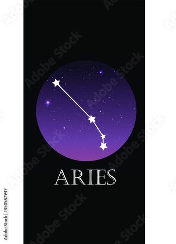 Fototapeta Aries constellation. Vector trend. Starry sky obraz na płótnie