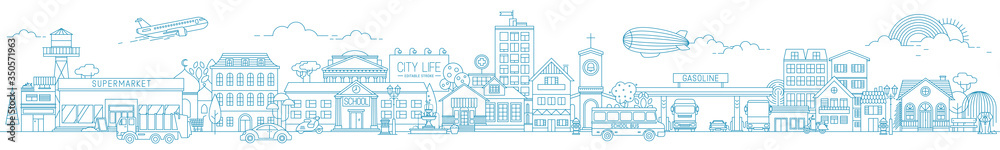 Fototapeta Monochrome horizontal urban landscape with city or town street or district. Cityscape with living houses and shops drawn with contour lines on white background. Vector illustration in lineart style