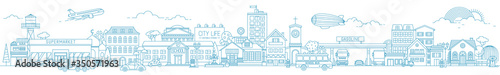Fototapeta Monochrome horizontal urban landscape with city or town street or district. Cityscape with living houses and shops drawn with contour lines on white background. Vector illustration in lineart style obraz