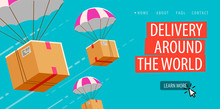 Delivery Service Business. Parachute With Box Or Parcel Vector Illustration