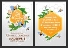 Little Bee Girl Birthday Party Invitation With Decor Vector Illustration. Yellow Honeycomb With Bees And Leafs Flat Style. Fun And Joyful Event Concept. Address Information. Isolated On Dark