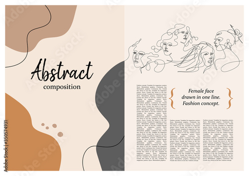 Fototapety, obrazy: Sample brochure. Pattern with female faces. Female face drawn in one line.